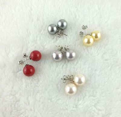 Beautiful 10mm Round Pearl Shell Earnnings 1 pcs