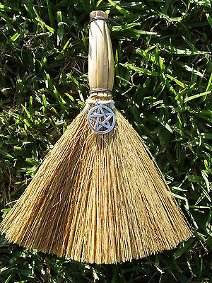 WITCHES' ALTAR BESOM BROOM WITH PENTACLE 150mm Wicca Pagan Witch Goth
