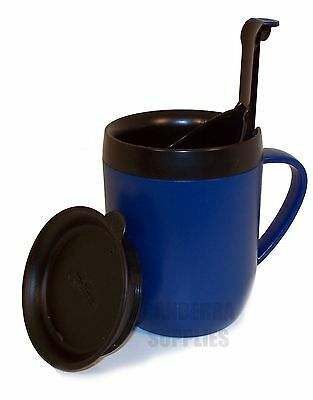 Zyliss Smart Cafe One Cup Coffee Cafetiere Hot Mug With Splash Lid - Blue