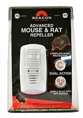 Rentokil Beacon Advanced Mouse & Rat Rodent Repeller Dual Action Uk Plug Fm89