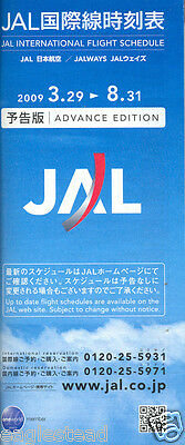 Airline Timetable - JAL Japan Air Lines - 29/03/09 - Intl Advance Ed - S
