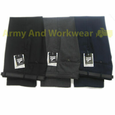 Mens/Boys Smart/Casual Formal Dress Workwear Uniform Plain Trousers - Free Belt