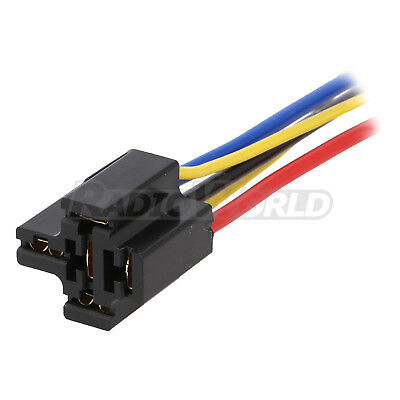 Pre Wired 4 / 5 Pin Relay Mounting Base Socket Holder 12V 24V 40A