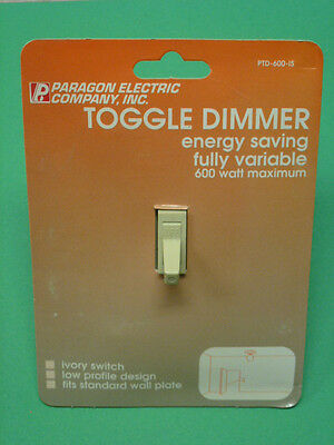 NOS! PARAGON ELECTRIC 120V TOGGLE DIMMER SWITCH #PTD-600-IS, IVORY