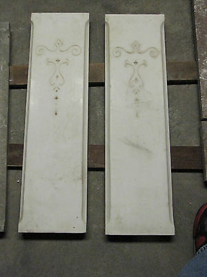 2 Antique Victorian Incised White Carrara Marble Architectural Parts  6080