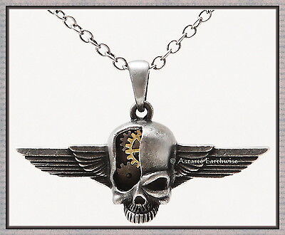 STEAMPUNK CYBORG SKULL WITH WINGS 30 x 50 mm WITH CHAIN Wicca Pagan Witch Goth