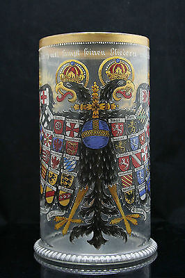 "antique Eagle glass, Reichsadlerhumpen, enameled Humpen, 27cm / 10"", dated 1624"
