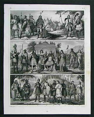 1849 Engraving Print - Ancient European Tribes Costumes