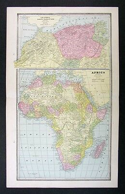 1883 Antique Map - Africa - Morocco Egypt  Nubia South