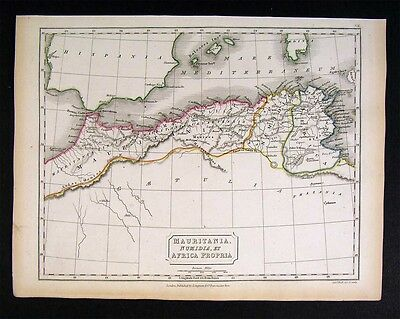 1844 Hall Map Africa Antiqua Mauritania Numidia Tunis