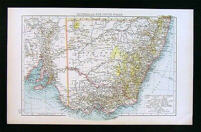 1900 Times Map - New South Wales & Victoria Australia Sydney Melbourne Adelaide