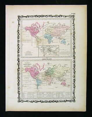 1863 Johnson World Map - Animal Kingdom Birds - Productive Industry Agriculture