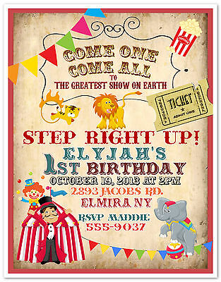 10 Circus Carnival Clown Birthday Party Invitations Custom Printed & Envelopes