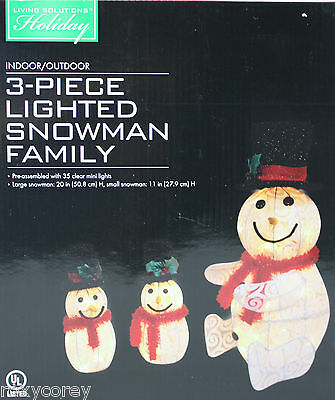 Christmas Living Solutions Holiday 3 Piece Lighted Snowman Family Indoor/Outdoor
