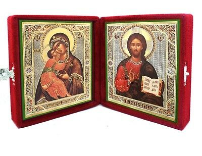 "Virgin of Vladimir w Christ the Teacher 5"" Matching Icon Diptych in Velvet Case"
