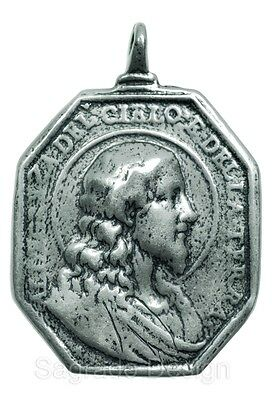 Large PROFILE OF CHRIST / VIRGIN MARY Medal silver from antique 17th c. original