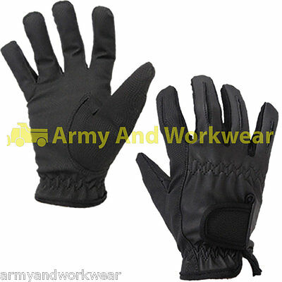 Mens Designer Black Fitted Sport / Fashion Look Glove Smart Dot Detail Fabric