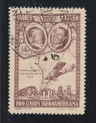 Spain Sc C55a used 1930 1p brown violet Air Post, VF