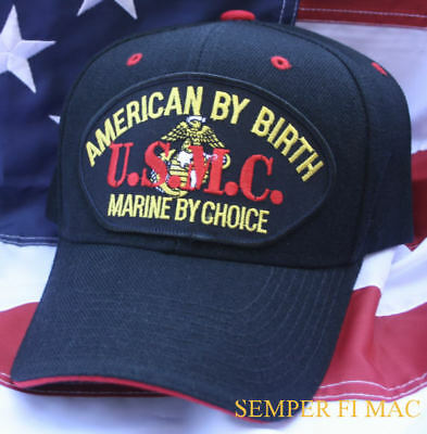 American By Birth Us Marine By Choice Hat Cap Wowmh Marines Uss Fmf Usmc Gift