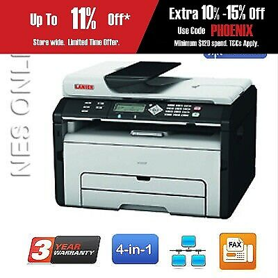 Ricoh/Lanier SP204SF 4-in-1 B&W Laser MFP Printer+BONUS:3-Year Warranty RRP$383