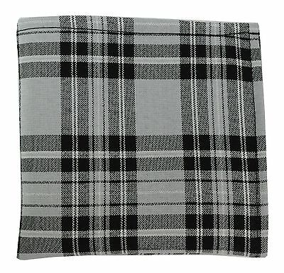 New Men's Polyester Pocket Square handkerchief Hankie Only plaid Gray & Black