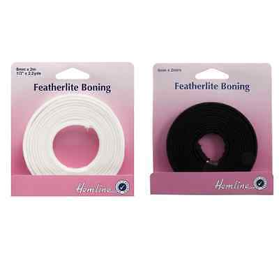 Hemline 2m x 8mm Featherlite Boning Cotton Covered