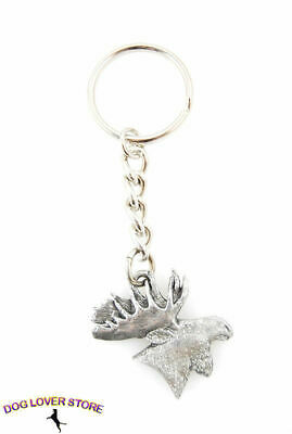Moose Head Fine Pewter Silver Keychain Key Chain Ring