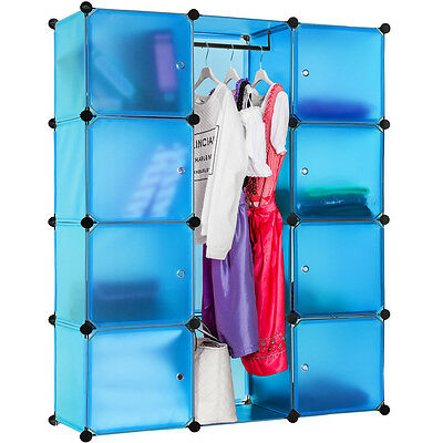 Steckregal Schrank Regal Kleiderschrank Garderobe Standregal Bad blau