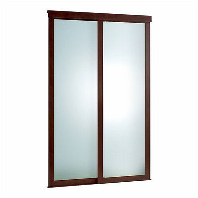 Sliding Frosted Glass Fusion Door with Chocolate Frame