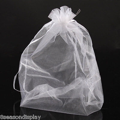 250PCs 20x30cm Organza Gift Bags Jewelry Pouches Wedding Favor White