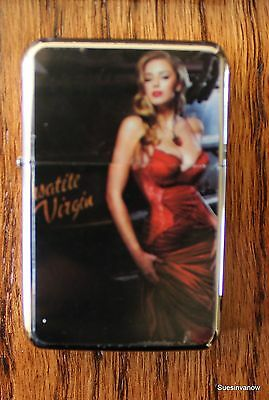 Flip top Oil Lighter refillable Pin up Girl Smoke Cigarette  Wind proof