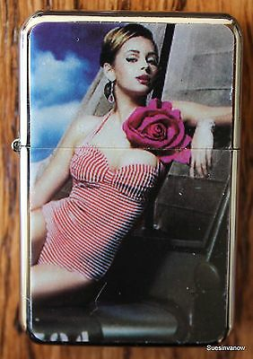 Flip top Oil Lighter refillable Pin Up Girl Fire Cigarette Cigar Joint Smoker
