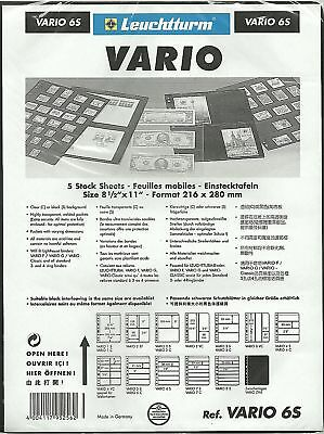 LIGHTHOUSE VARIO 6 STRIP BLACK STAMP ALBUM STOCK SHEETS Pack of 15. Strips 39mm