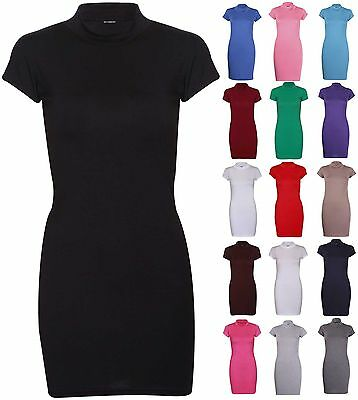 Womens New Short Cap Sleeves Turtle Polo Neck Ladies Long T-Shirt Top Mini Dress