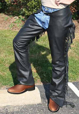 Tahoe Smooth USA Leather Show Chaps with Fringes