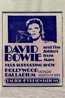1970's David Bowie at Hollywood Palladium Promotional Concert  Poster 1973
