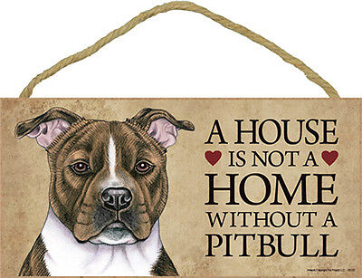 Pitbull Wood Dog Sign Wall Plaque Photo Display 5 x 10 – House Is Not A Home ...