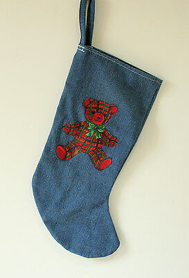 Blue Jean Cotton Christmas Stocking with Red Plaid Teddy Bear Decoration