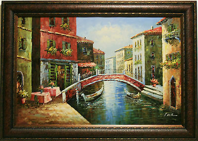 Venice River Italy Street Cafe Canal Gondola Boats City Art FRAMED OIL PAINTING
