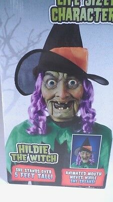 MIB Spooky Creepy Halloween Animated Talking Life Sized 5' Tall Hildie the Witch