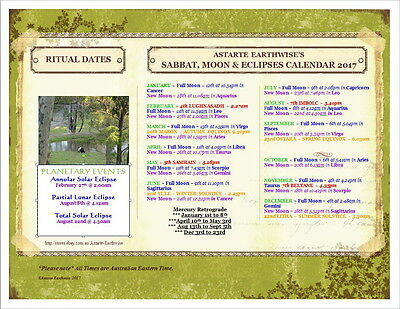 SABBAT'S & MOON'S 2016 FOR AUSTRALIA SOUTHERN HEMISPHERE Wicca Witch Pagan Goth