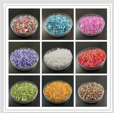 "1//4/"" Glass Bugle Seed Beads N2027 1 Hank LIGHT GRAY Transparent Rainbow 6mm"
