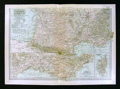 1902 Century Atlas Map South France - French Riviera Pyrenees Marseille Corsica