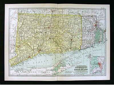 1902 Century Atlas Map Connecticut & Rhode Island - Newport Providence New Haven