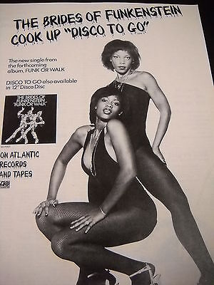 BRIDES OF FUNKENSTEIN from FUNK OR WALK Disco Go preserved 1978 PROMO DISPLAY AD