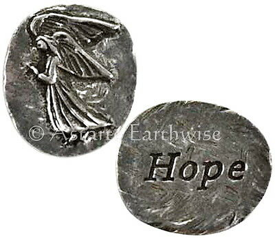 1 x HOPE ANGEL POCKET STONE 20 x 25 mm Wicca Pagan Witch Amulet  GUARDIAN ANGEL