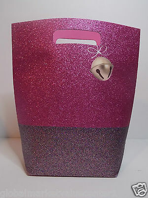Bath & Body Works Holiday Sparkly Shiny Glitter Pink Silver cute Party Gift Bag