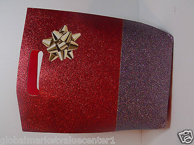 Bath & Body Works Holiday Sparkly Shiny Glitter RED Silver cute Party Gift Bag