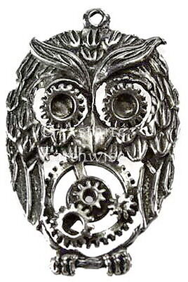 1 x STEAMPUNK PEWTER OWL 50 x 35 mm COMES WITH A CORD Wicca Pagan Witch Goth