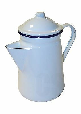 Falcon White Enamel Tall Coffee Pot With Handle & Lid Tea Teapot 1.5L - Camping